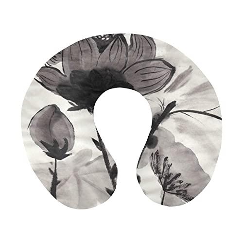 Oriental Lotus Chinese Ink and Wash Painting Almohada de Viaje para el Cuello Almohada de Espuma viscoelástica para el Cuello para Aviones domésticos y Coche Soporte Suave para la Barbilla - Cómodo y