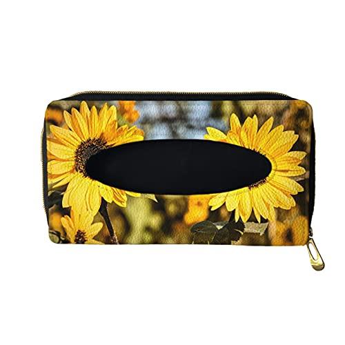 FKELYI Hanging Tissue Holder Yellow Sunflowers Sun Visor Napkin Case Hanging Tissue Box Cover Floral Tissue Storage