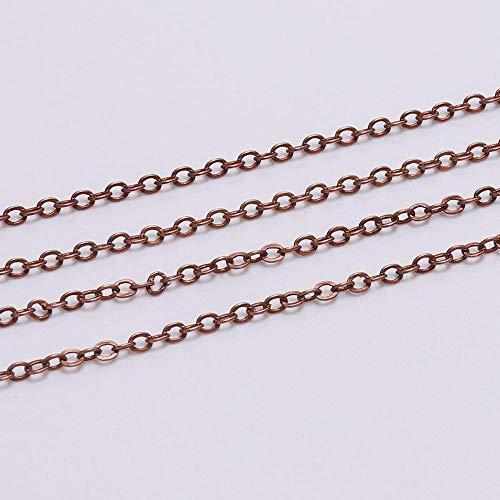5m / lote Ancho 1.5 2mm Oro de cobre óvalado óvalado Cadena de collar para la joyería que hace hallazgos accesorios pulsera bricolaje suministros TL0301 ( Color : Red Copper , Size : 1.5mm x 5m )