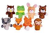 Goki 50962 Fingerpuppen-Set Waldtiere 8er Set aus Stoff -