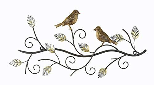 Wandrelief Zwei Vögel auf Ast aus Metall Wandobjekt