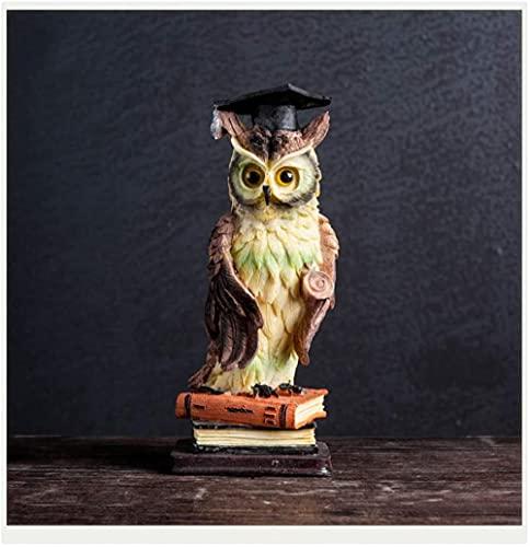 Productos para el hogar Feliz decoración del hogar búho de Resina Sala de Estar Mueble de TV Estatua Decorativa símbolo de Inteligencia y sabiduría marrón-Azul
