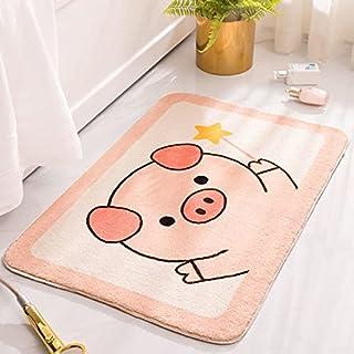 RORA Bath Rug for Kids Coral Pink Peach Shape with White Words Cartoon Plush Water Absorbent Bathroom Decor Mat Bathtub Ba...