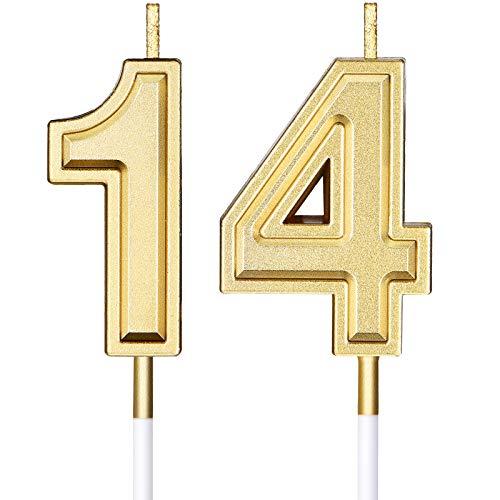 Candele di Compleanno di 14 Candele di Numero per Torta Candele di Torta di Buon Compleanno Decorazione di Topper per Bomboniera di Compleanno Nozze Anniversario Matrimonio, Oro
