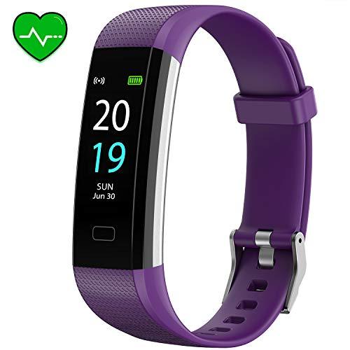 Akasma Fitness Tracker HR, S5 Activity Tracker Watch with Heart Rate Monitor, Pedometer IP68 Waterproof Sleep Monitor Step Counter for Women Men (Purple)