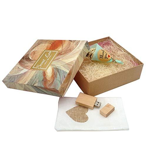 LUCKCRAZY Memoria USB 2.0 de madera con caja de regalo (16 GB, FMFK-Sweet Love Box)