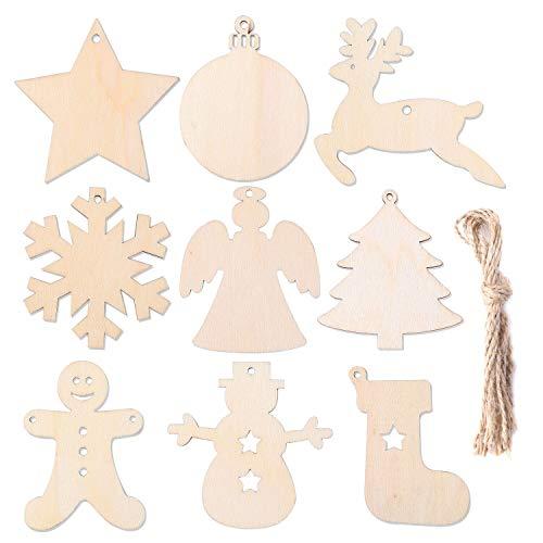 Herefun Holz Christbaumschmuck, 72 Stück Weihnachtsanhänger Holz, Weihnachts Holz-Anhänger Weihnachtsanhänger Deko, Weihnachtlicher Baumschmuck, Weihnachtsbaum Deko, Weihnachtsdeko zum Aufhängen