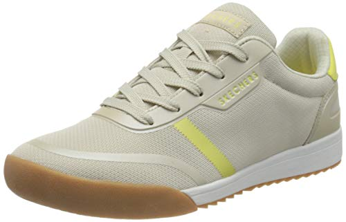Skechers Zinger 2.0, Zapatillas para Mujer, Beige Natural Malla Amarillo Duraleather Trim Ntyl, 38 EU