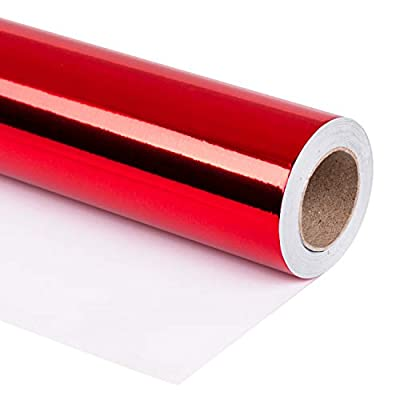RUSPEPA Red Metallic Wrapping Paper-81.5 Sq Ft-Solid Color Paper Perfect for Wedding,Birthday,Christmas,Baby Show Gifts-30Inch X 32.8Feet