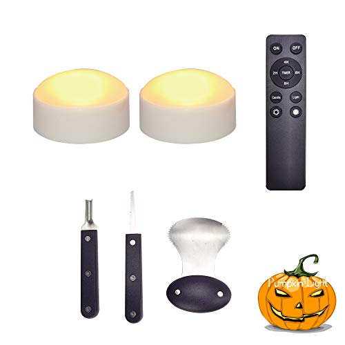 LED Pumpkin Lights with Remote Timer for Pumpkin Jack-O-Lantern Halloween Party Decorations, 2-Pack Battery Operated Bright Flickering White Flameless Candle Lights with Pumpkin Carving Kit Tools Set