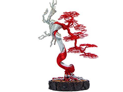 GREENHANDSHAKE Bonsai Copper Wire Tree Sculpture, Tree Sculptures Modern, Best Gift, Handcraft, Home Decor, Office Decoration (Red)
