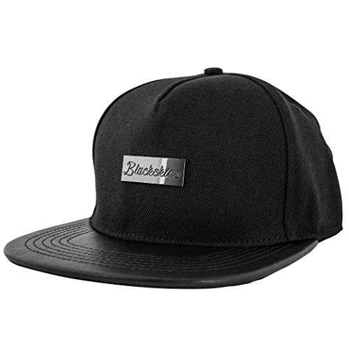 Blackskies Vanguard Snapback Cap Damen Herren Baseball Mütze Kappe Suede Kunst-Leder, Schwarz, Einheitsgröße