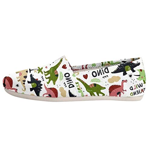 Inawayls Damen Classic Slip-on Low-Top Flache Schuhe Cartoon Dinosaurier-Drucken Ballerinas Bequeme Sneaker Slipper Sportlich Flats Mädchen