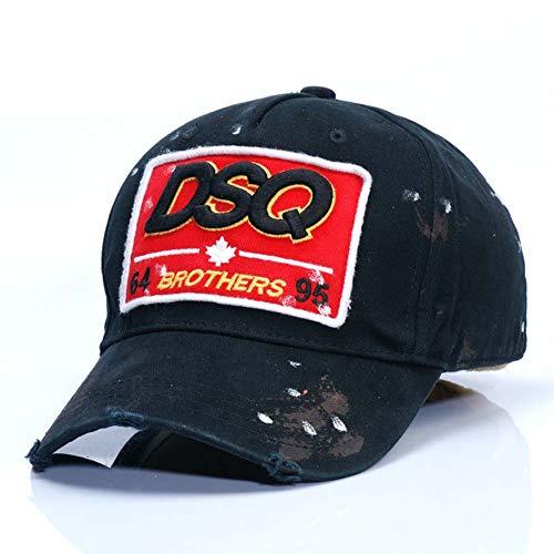 COOLGUY Kappe Herren Baumwolle Hysteresen Baseballmützen DSQ Buchstaben Cap Hip Hop Cap für Männer Frauen,Schwarz