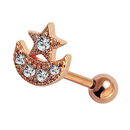 Rose Gold Micro-Setting CZ Stein Mond mit Sterne 316L chirurgischer Stahl Knorpel Helix Tragus Piercing