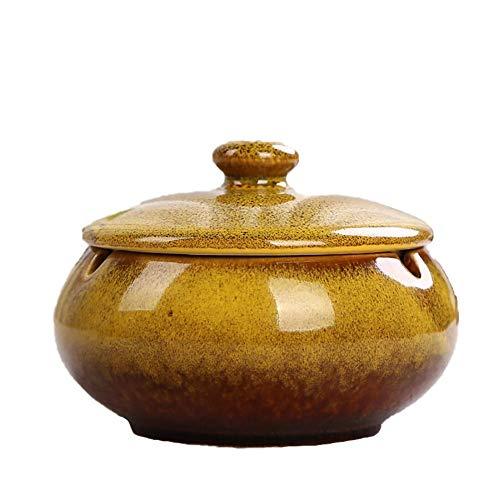 Demarkt Cenicero de Puros con Tapa para Exterior, cerámica, decoración, apartamento, pequeño, Cenicero, Amarillo, 11 * 8cm