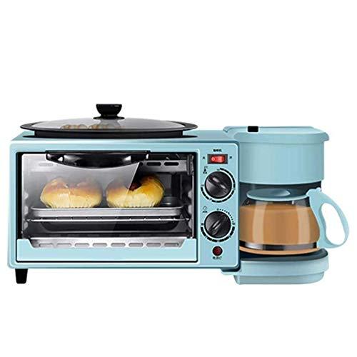 3-in-1 Frühstücksstation Maker Center Multifunktions-Kaffeemaschine der Retro-Familie mit Wasserkocher Elektro Toaster Maschine Edelstahl 9L Ofen mit Timing 30Min Pink