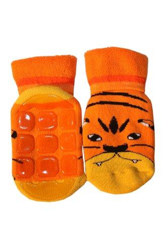 Weri Spezials Kinder Voll-ABS Socke Tiger Motiv in Orange Gr.23-26 (3-4 Jahre)