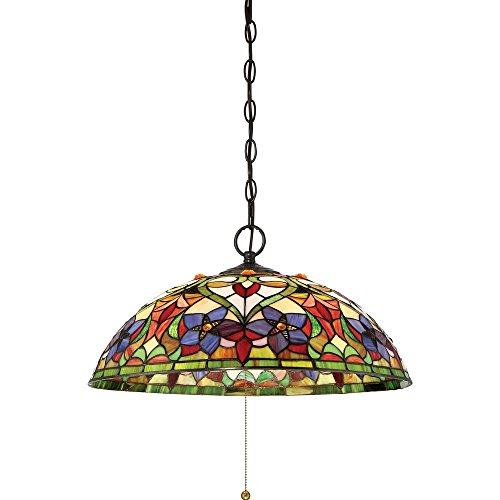 Quoizel TFVT1820VB Violets Tiffany Bell Pendant Ceiling Lighting, 3-Light, 300 Watts, Vintage Bronze (10