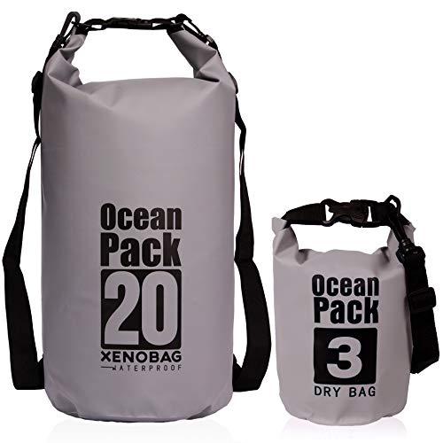 XENOBAG – Bolsa Impermeable – 3 o 20 litros, Dry Bag, Pequeña, Ocean Pack 3 o 20 l, Mochila Impermeable Resistente al Agua, Drybag con Correas Ajustables y Cierre de Seguridad