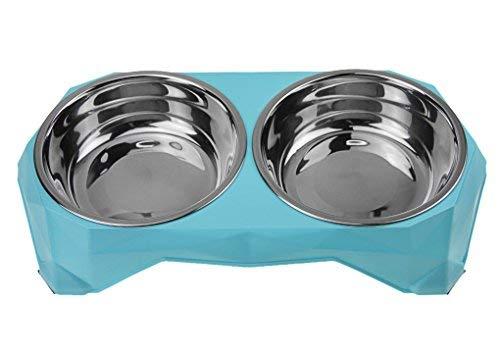 Ciotola doppia per cani in acciaio Bowls silicone per mangiatoia per animali domestici, doppia ciotola rotonda per cane e gatto noossidabile, ciotola da viaggio antiscivolo
