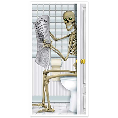 XT-Direct Halloween Esqueleto Puerta Cubierta Etiqueta Baño Sala De Estar Pegatina de Halloween Pegatina Decoración Party Accessory (1 Count) (1/pkg) …