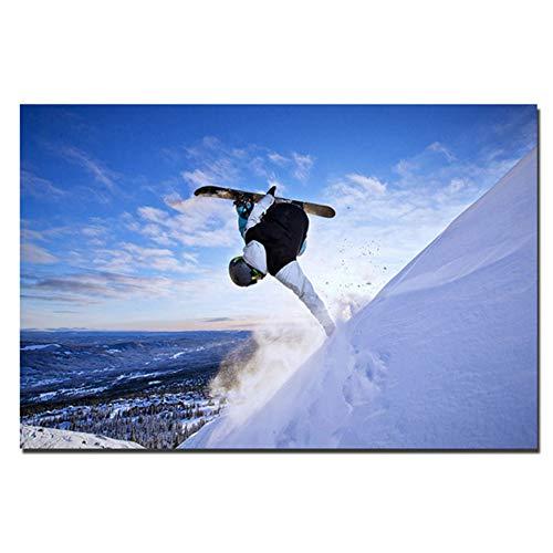 Extreme Snowboarden Wallpaper Canvas Posters en Prints Muurschildering voor Woonkamer Decor Print op Canvas -60x90cm Geen Frame
