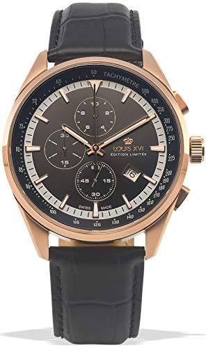 LOUIS XVI Herren-Armbanduhr Varennes Rosegold Schwarz Chronograph Analog Quarz echtes Leder Schwarz 919