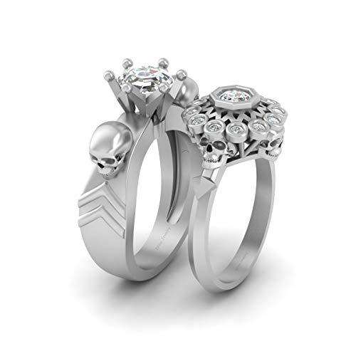 Juego de anillos de compromiso octágono y redondo de 1,60 quilates con calavera de diamante de oro blanco sólido de 18 quilates a juego