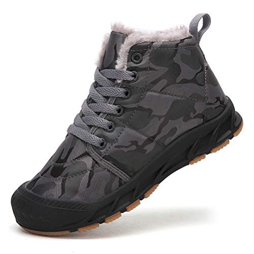 AFT AFFINEST Boys Girls Snow Boots Waterproof Slip On Fur Lined Sneakers Winter Lace Up Warm Shoes(Grey,37)