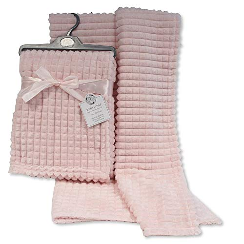 Super Soft Newborn Baby Girl Boy Waffle Nursery Cot Blanket Comforter - Pink, Blue, Grey, White Available (Pink)