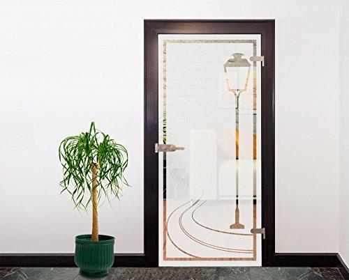 Glasdekor Türfolie Milchglas Laterne I 90x200 cm - Silber - Badezimmer Dusche Büro Glastür Fenster Büro Balkon - Sichtschutz Blickdicht selbstklebend
