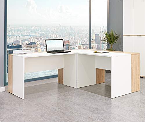 Schreibtisch - Eckschreibtisch - Büro Möbel [Funktional und Robust] - Gaming Tisch - Computertisch - in Sonoma-Eiche - Weiss ca.: B 185/185 x H 75 x T 75 cm | Schreibtisch Set