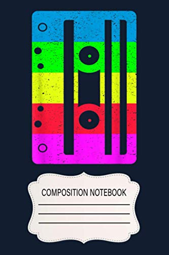 Cassette Tape 80s 90s Vintage Retro Neon Costume DM Notebook: 120 Wide Lined Pages - 6