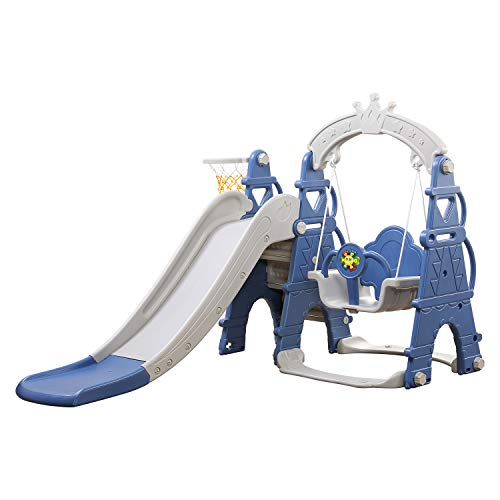 Brook Hi Vis UK 4 in 1 Kids & Toddler Swing & Slide With Basketball Hoop! Climbing Ladder AFE08