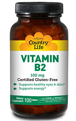 Country Life Vitamin B2, 100 mg, Supports Energy Production, Supports Healthy Eyes & Skin, Gluten-Free, Non-GMO, 100 Tablets