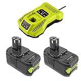 2 baterías de litio de 18 V 5000 mAh con cargador 3 A para Ryobi 18 V RB18L40,...