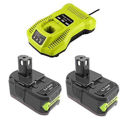 2 baterías de litio de 18 V 5000 mAh con cargador 3 A para Ryobi 18 V RB18L40, RB18L50, RB18L13, RB18L15, RB18L20, RB18L25, BPL-1815, BPL-1820G, BPL18151, BPL1820