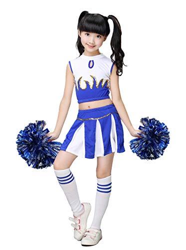 LOLANTA Disfraz de Cheerleader Animadora para Niñas Colegiala Animadora Uniforme Disfraz de Campeona de Animadora(Azul, 10-11 años,tamaño de la Etiqueta 150)