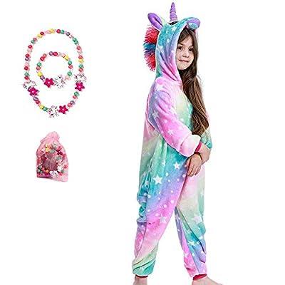 LINKE - Pijama de unicornio de felpa suave de alta calidad para niñas, regalo cómodo con pulsera y collar de colores