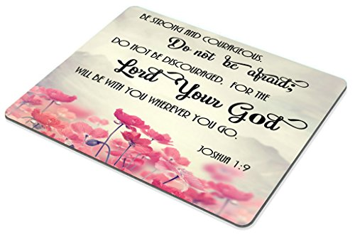 Smooffly Gaming Mouse Pad Custom, Christian Bible Verses Scripture Quotes Joshua-1-9 Pink Flowers Art - Be Strong and Courageous God Be with You Photo #3