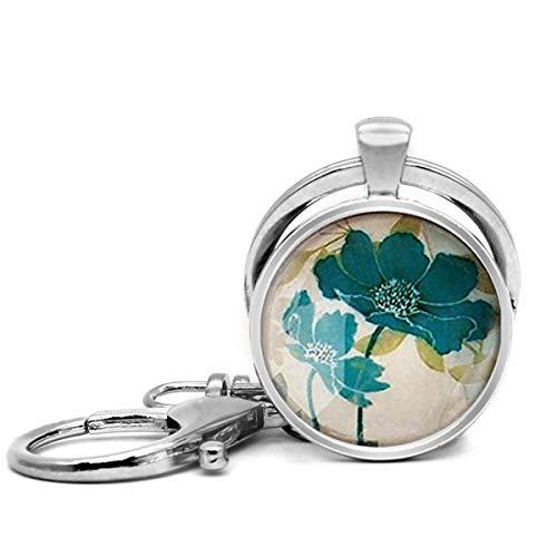 Edelstahl Schlüsselanhänger mit Schlüsselring Leicht Dekorative Schlüsselanhänger Tolles Geschenk für Damen und Herren, Kamee Runde Blumen