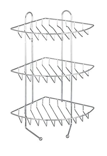 WENKO Exklusiv Eckregal mit 3 Etagen - 3 Ablagen, 2 Haken, Stahl, 26 x 44 x 30 cm, Chrom
