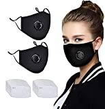 Replaceable Five-Layer Activated Carbon Filter,Face Bandanas Cotton with Breathing Valve, for smog and dust Facial Treatment for Adults (Black) (2 pcs Respirator+20 pcs Filter)