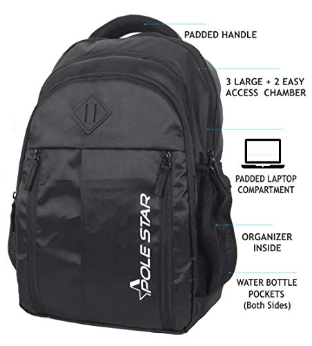 """Polestar Enzo 35 Liters Polyester Black 15.6"""" Casual Laptop Bag/Backpack With Rain Cover"""