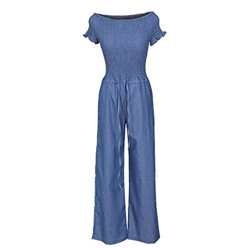 Noubrand, tuta da donna a pieghe, a maniche corte, in denim, sexy, a gamba larga Blu XL