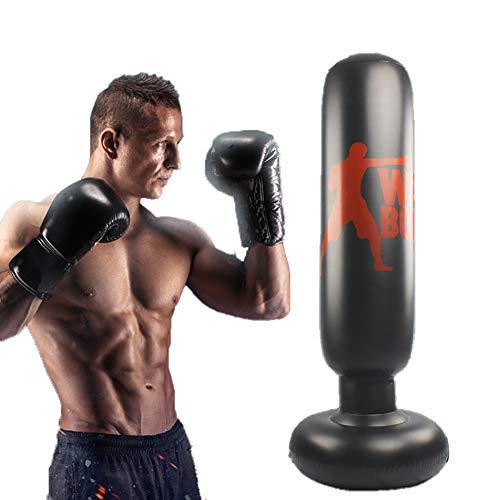 Boxtraining Boxsack Fitness Inflatable Schwerer Boxsack, Freistehender Zielstand Tumbler Säule Sandbag Mit Fußluftpumpe 160CM Schwarz Für Kinder Für Erwachsene