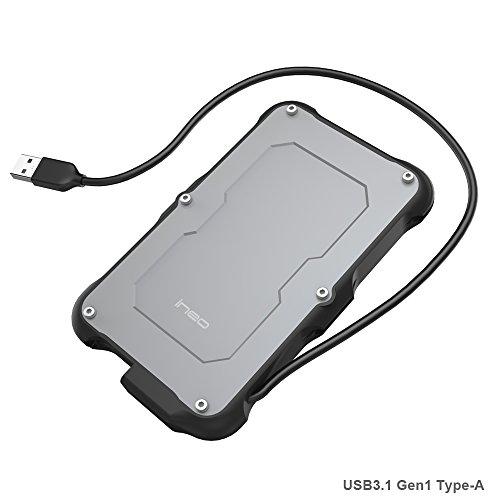 PeakLead USB 3.1 Gen1 Rugged Festplattengehäuse für 2,5-Zoll SATA Festplatte - T2580 Externes Festplatten Gehäuse, IPX6 Wasserbeständig, IP6X Military Stoßfest Case für SATA HDD SSD, Typ A Kabel