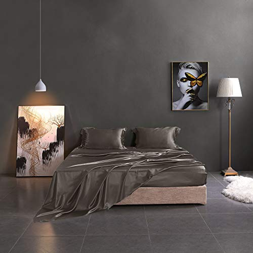 THXSILK Silk Sheet Set 4 Pcs, 19 Momme Silk Bed Sheets, Luxury Bedding Sets -Ultra Soft, Durable-100% Top Grade Mulberry Silk (Queen, Charcoal)