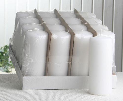 Sparpack: 16x Stumpenkerze 15 x 6 cm Ø, weiß